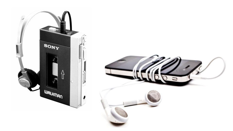 A Sony walkman and an Apple iPhone